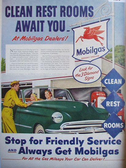 Mobilgas Friendly Service 1952 Ad woman at gas station