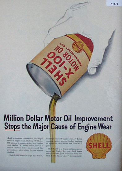 Shell X 100 Motor Oil 1952 Ad engine ware