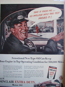 Sinclair Extra Duty Motor Oil 1954 Ad taxi 1028
