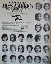 Toni Hair Products Miss America Sweepstakes 1968 Ad