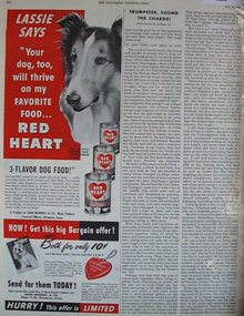 Red Heart Dog Food 1949 Ad with Lassie