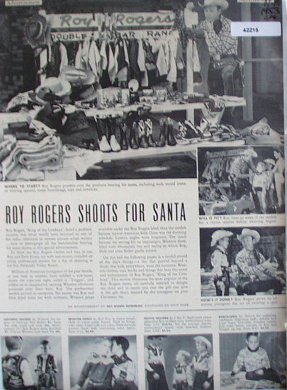 Roy Rogers with Merchandise 1953 Ad.models western ware