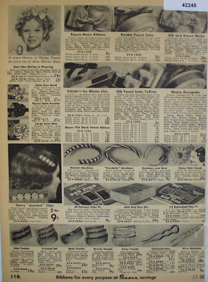 Sears Hair Products 1936 Ad featuring Shirley Temple picture