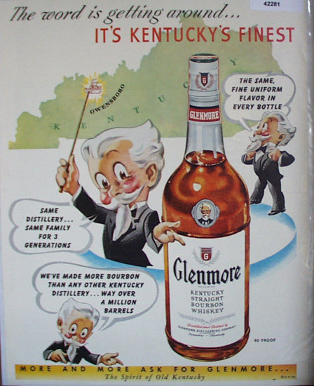 Glenmore Bourbon Whiskey 1950 Ad