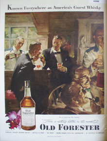 Old forester Bourbon Whisky 1952 Ad