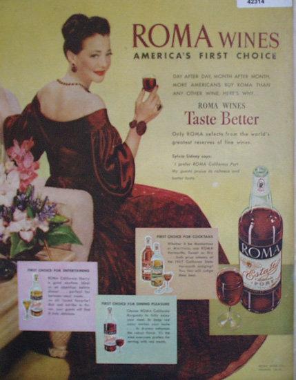 Roma Wines 1948 Ad red velvet dress