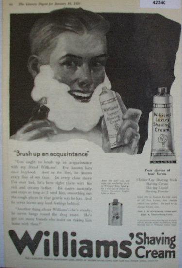 Williams Shaving Cream 1920 Ad