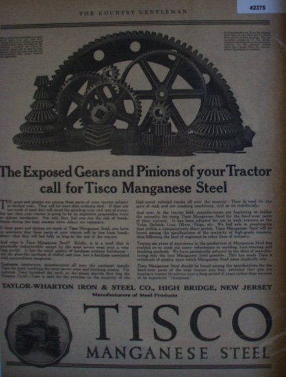Tisco Manganese Steel 1922 Ad