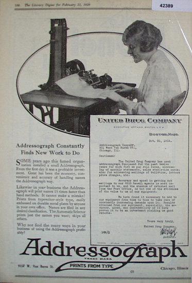 Addressograph Co. 1920 Ad
