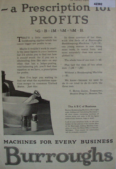 Burroughs Adding Machine Co. 1920 Ad