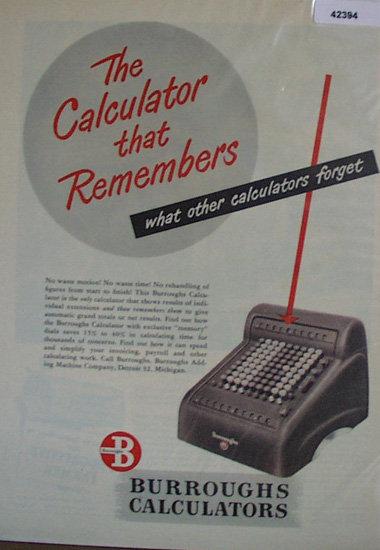 Burroughs Calculators 1948 Ad