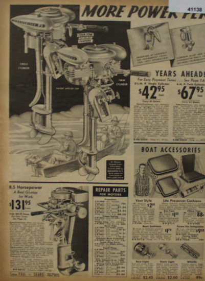 Sears Catalog Boat Motor 1938 Ad.