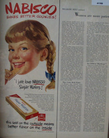 Nabisco Sugar Wafers 1952 Ad