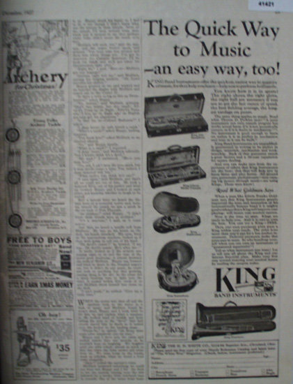 King Band Instruments 1927 Ad