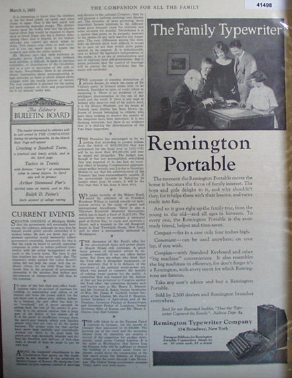 Remington Portable Typewriter 1923 Ad