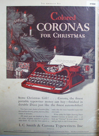 Colored Corona Typewriter 1927 Ad