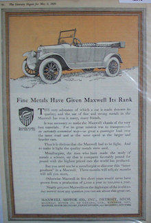 Maxwell Motor Co. 1920 Car Ad