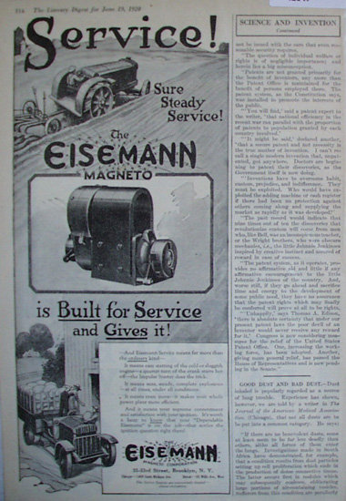 Eisemann Magneto Corporation 1920 Ad