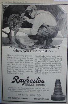 Raybestos Brake Lining 1920 Ad
