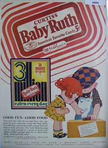 Curtiss Baby Ruth Candy 1928 Ad