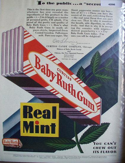 Curtiss Baby Ruth Gum 1929 Ad