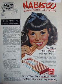 Nabisco Waffle Creams Cookies 1952 Ad