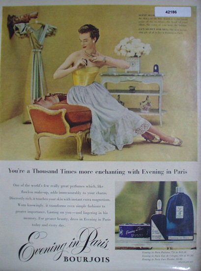 Evening In Paris Perfume 1949 Ad.