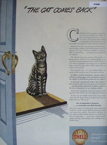 Shell Oil The Cat Comes Back 1946 Ad