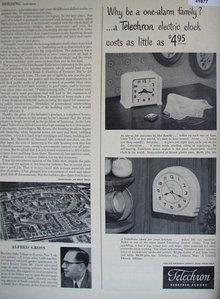 Telechron Electric Clocks 1949 Ad