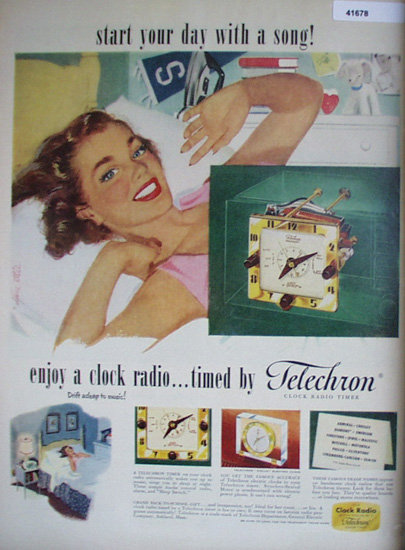 Telechron Clock Radio Timer 1951 Ad