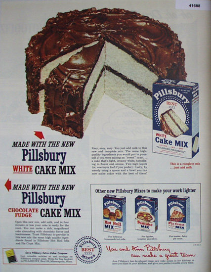 Pillsbury White Cake Mix 1949 Ad.