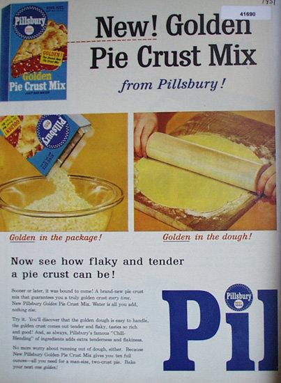Pillsbury Golden Pie Crust Mix 1951 Ad