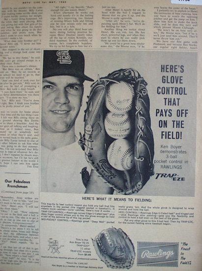 Rawlings Trap eze Glove 1962 Ad