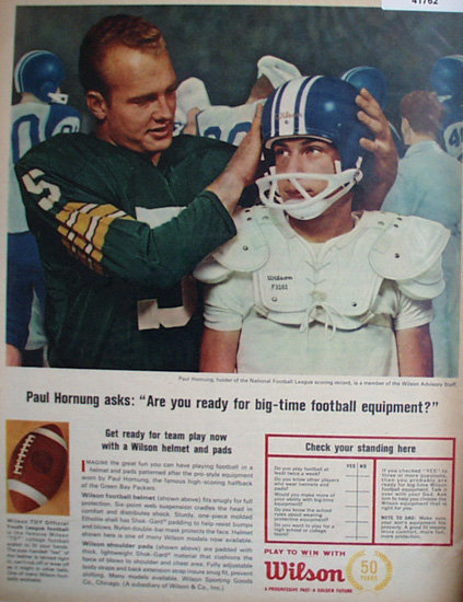 Wilson Sporting Goods Football Equipment 1964 Ad