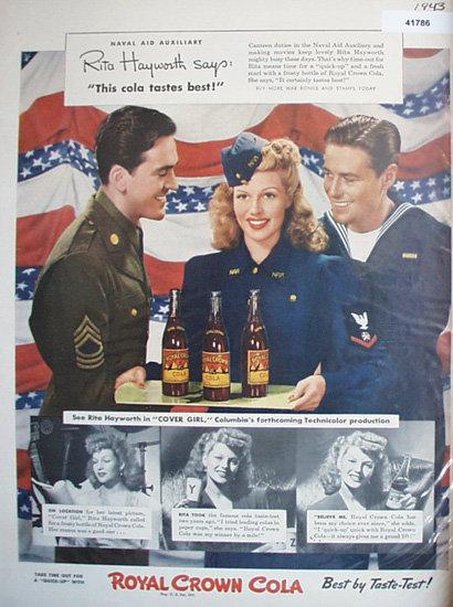Royal Crown Cola Rita Hayworth 1943 Ad