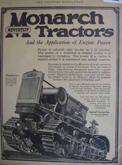 Monarch Neverslip Tractors 1920 Ad