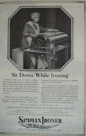 American Ironing Machine Co. Simples Ironer 1920 Ad.