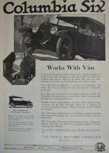 Columbia Six Automobile 1920 Ad.