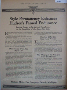 Hudson Motor Car Co. 1920 Ad.