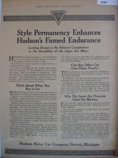 Hudson Motor Car Co. 1920 Ad.