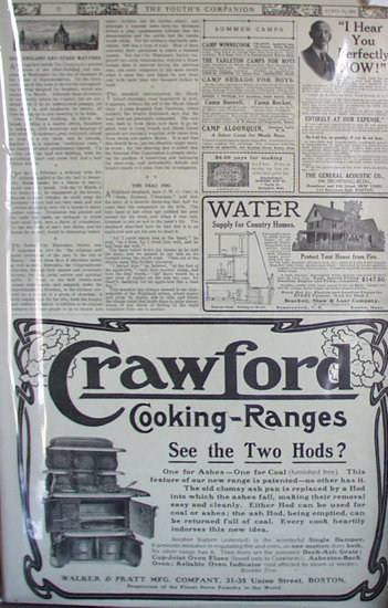 Crawford cooking Ranges 1909 Ad.