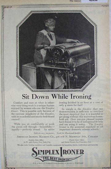 Simplex Ironer 1920 Ad