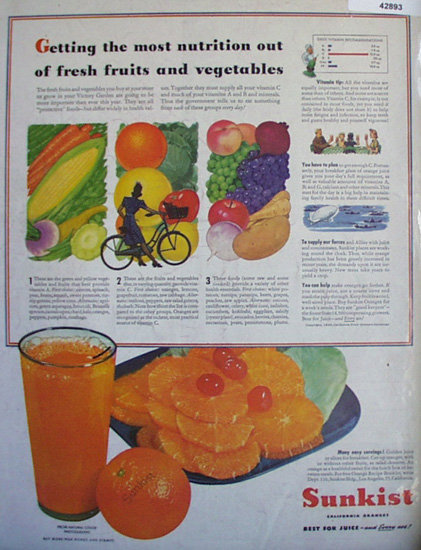 Sunkist California Oranges 1943 Ad