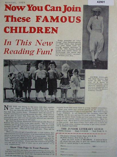 The Junior Literary Guild 1929 Ad.