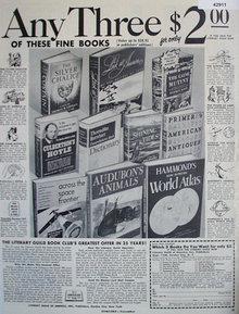 Literary Guild of America Book Club 1952 Ad.