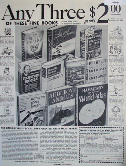 Literary Guild of America Book Club 1952 Ad.