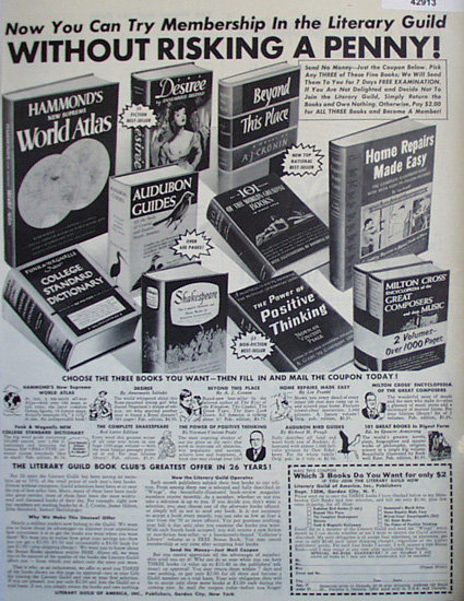 Literary Guild of America Book Club 1952 Ad