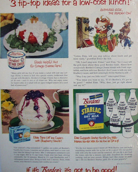 Bordens Products And Elsie 1952 Ad.