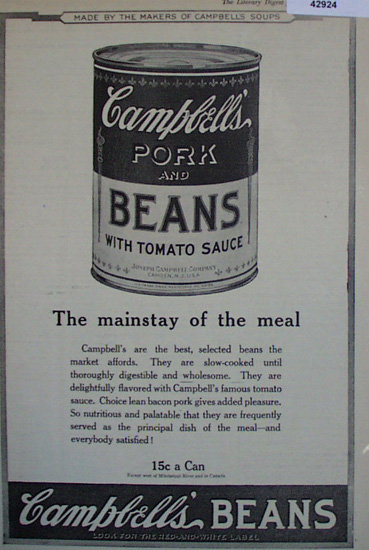 Campbells Pork And Beans 1920 Ad.