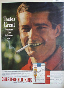 Chesterfield King Cigarettes 1963 Ad.